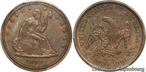 S7697 Rare USA Liberty Seated Quarter Dollars 25 Cents 1839 PCGS UNC