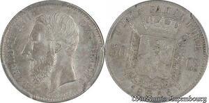 S7711 Belgium 50 Centimes Leopold II 1866 PCGS AU58 ->Make offer