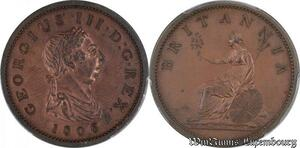 S7745 Rare ! great Britain Penny George III 1806 Uncirculated ! RED