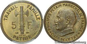 S7763 Rare 5 Francs Essai Petain 1941 PCGS SP63 Splendide ->Faire Offre