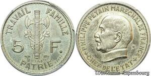 S7764 Rare 5 Francs Essai Petain 1941 PCGS SP63 Splendide Maillechort
