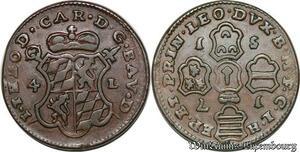 S7828 Feudal Liège John Theodore of Bavaria 4 Liards Oorden 1751 Liège