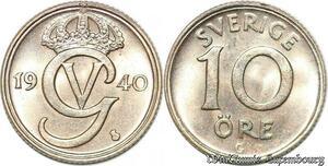 S7852 Suède Sweden 10 Öre Gustave V 1940 FDC Silver -> Make Offer