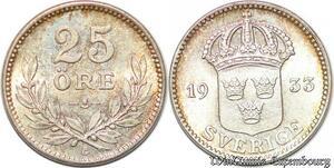 S7854 Suède Sweden 25 Öre Gustave V 1933 FDC ! Silver -> Make Offer