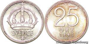 S7856 Suède Sweden 25 Öre Gustave V 1943 FDC Silver -> Make Offer