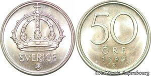 S7859 Suède Sweden 50 Öre Gustave V 1949 FDC ! Lustre Argent-> Make Offer