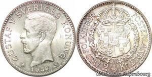 S7863 Suède Sweden 2 Kronor Gustave V 1939 FDC ! Silver -> Make Offer