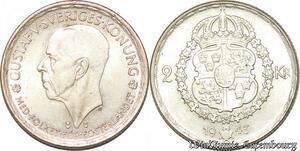 S7864 Suède Sweden 2 Kronor Gustave V 1943 AU Silver -> Make Offer