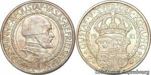 S7865 Suède Sweden 2 Kronor Gustave V 1921 W Silver UNC -> Make Offer