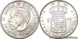 S7869 Suède Sweden 2 Kronor Gustave VI 1963 UNC Silver -> Make Offer