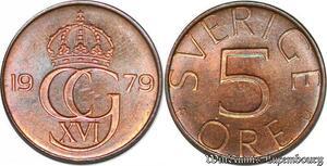 S7884 Suède Sweden 5 Öre Gustave VI 1979 FDC-> Make Offer