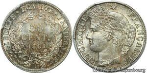 S7893 Rare 50 Centimes 1881 A Paris PCGS MS64 Argent Silver FDC -> Faire Offre