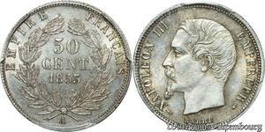S7897 Rarissime 50 Centimes Napoléon III 1853 A Paris PCGS MS62 Argent SPL