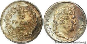 S7898 Rare 1/4 FrancLouis Philippe I 1844 A Paris PCGS MS64 FDC Argent Silver