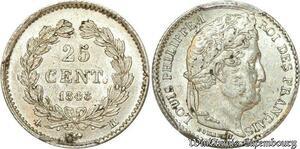 S7899 Rarissime 25 Centimes Louis Philippe I 1848 PCGS MS62 Argent SPL