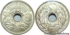 S7903 Très Rare 25 Centimes Essai 1938 en relief PCGS SP66 FDC -> Faire Offre