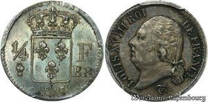 S7905 Finest! 1/4 Louis XVIII 1817 BB Strasbourg PCGS AU58 Argent Silver