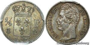 S7909 1/4 Franc Charles X 1827 M Toulouse PCGS MS62 Silver SPL