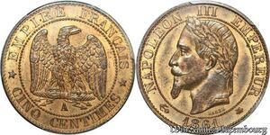 S7916 Rare 5 Centimes Napoléon III 1861 A Paris PCGS MS64 FDC ! -> Faire Offre