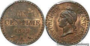 S7931 Rare 1 Centime 1849 A Paris PCGS MS63 RB Splendide -> Faire Offre
