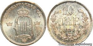 S7932 Rare Sweden 2nd Finest 10 Öre 1874 ST PCGS MS64 Oscar I II Silver