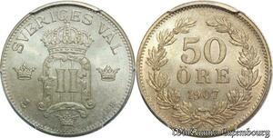 S7944 Sweden 50 öre Oscar I II 1907 EB PCGS MS65 FDC Argent ->Faire Offre