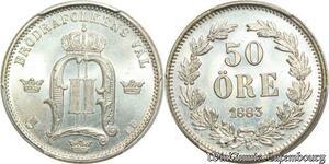 S7945 Sweden Rare 50 öre Oscar I II 1883 EB PCGS MS66 FDC+++ Argent