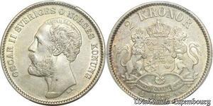 S7946 Sweden Rare 2 Kronor Oscar I II 1876 EB PCGS AU53 Argent ->Faire Offre