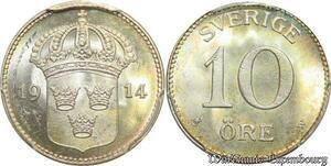 S7951 Finest Sweden 10 öre Gustav V 1914 W PCGS MS64 Silver ->Faire Offre