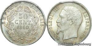 S7953 Très Rare ! Finest 50 Centimes Napoléon III 1860 PCGS MS64 FDC