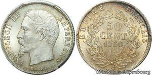 S7954 Rare ! 50 Centimes Napoléon III 1860 BB Strasbourg PCGS MS63 SPL