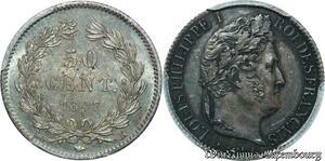 S7956 50 Centimes Louis Philippe 1847 K Bordeaux PCGS AU55