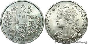 S7962 Finest Rare ! Essai 25 Centimes Patey 18 pans 1904 PCGS SP66