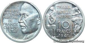 S7968 Rare ! 10 francs Maréchal Pétain 1941 Alu PCGS SP64 FDC