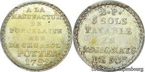 S7977 Finest Constitution 5 sols Potter 1791-1792 Argent PCGS MS63 SPL