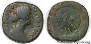S4061 Rare Sesterce Diva Faustina Minor Big Peacock Rome 176 Consecratio