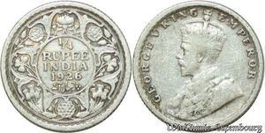 S2021 India 1/4 Quarter Rupee George V 1926 Calcutta Mint Argent Silver