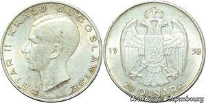 S2086 Yougoslavie 20 Dinara Petar II Argent Silver 1938 Superbe ->Make offer