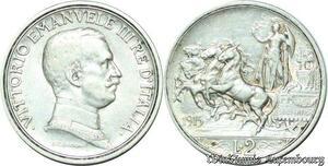 S2129 Italy Italy 2 Lire 1915 Quadriga Briosa Vittorio Emanuele III Silver