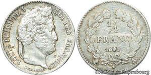S2144 1/4 Franc Louis Philippe 1841 A Paris Argent Silver ->Faire Offre