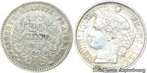 S2151 20 Centimes Ceres 1850 A Paris Argent Silver Oreille Basse ->Faire Offre