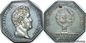 S2180 Rare Jeton Compagnie Notaires Paris Louis Philippe I Michaut Argent