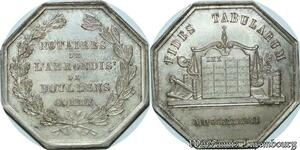 S2198 Jeton Notaires Doullens Somme 1833 Fides Tabularum Argent Silver SPL