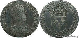 S2339 1/2 Ecu Louis XIV Mèche Longue 1651 H / & La Rochelle / Aix Argent Silver