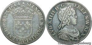 S2347 Rare 1/4 Ecu Louis XIV Mèche Courte 1644 A Paris Rose Argent