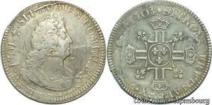 S2360 Rare 1/2 Ecu Louis XIV Aux 8 L 1703 A ref 1301 Paris Argent Silver