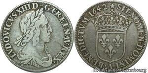 S2392 R3 1/4 Ecu Louis XIII 2nd poincon Warin 1642 A Paris ROSE + * apres Rex