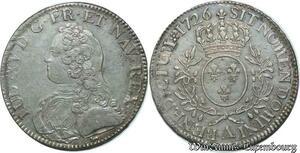S2400 Rare Ecu Louis XV Au Bandeau 1726 A Paris Argent Silver SUP