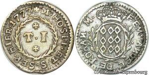 S2448 Rare Malte Malta 1 Tari 1777 Emmanuel de Rohan Polduc 1775 - 1797 Argent