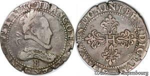 S2484 Rare Henri III 1574-1589 Franc au col plat 158- B Rouen Argent